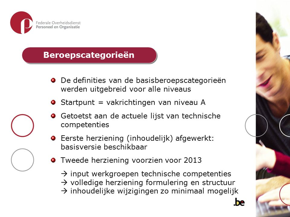 Beroepscategorieën De definities van de basisberoepscategorieën werden uitgebreid voor alle niveaus.