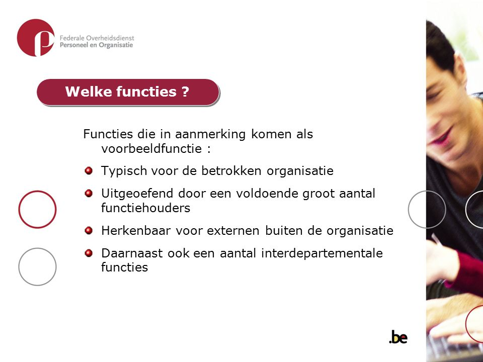 Welke functies Functies die in aanmerking komen als voorbeeldfunctie : Typisch voor de betrokken organisatie.