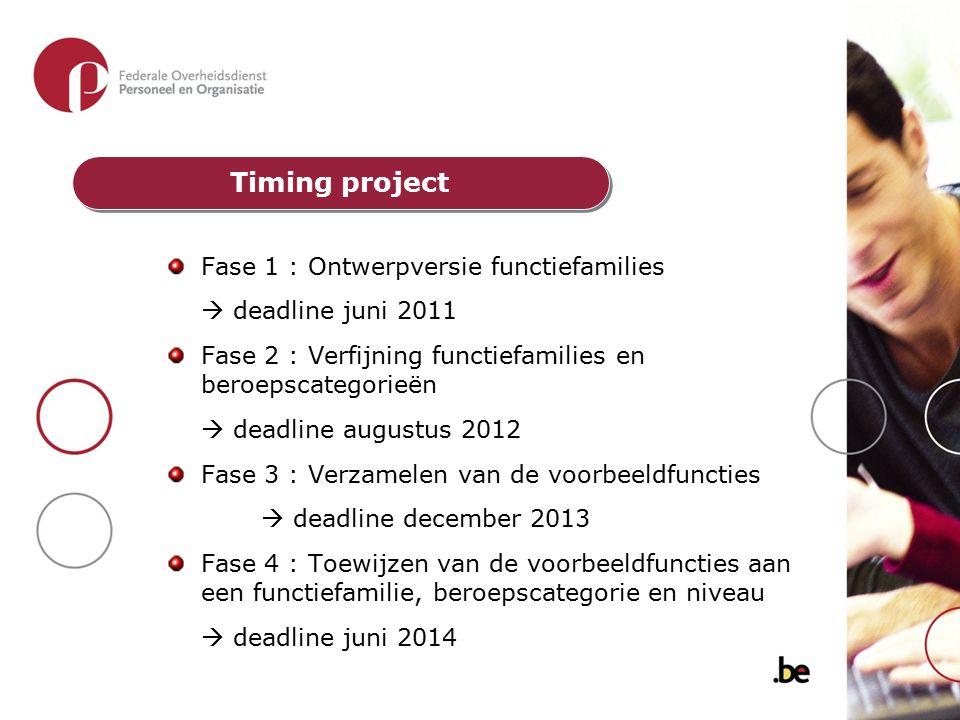 Timing project Fase 1 : Ontwerpversie functiefamilies