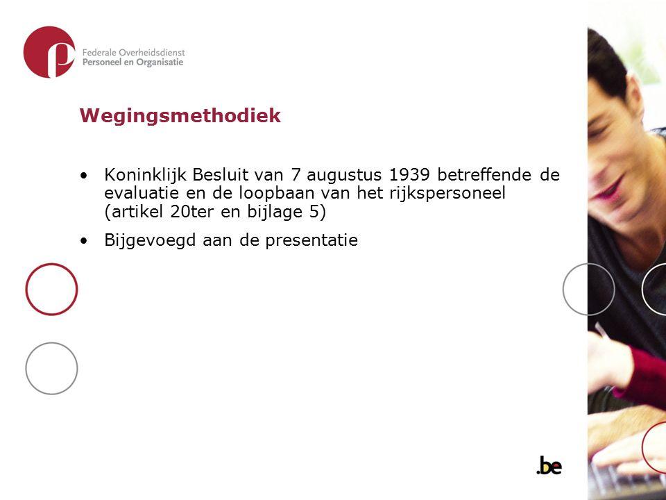 Wegingsmethodiek Koninklijk Besluit van 7 augustus 1939 betreffende de evaluatie en de loopbaan van het rijkspersoneel (artikel 20ter en bijlage 5)