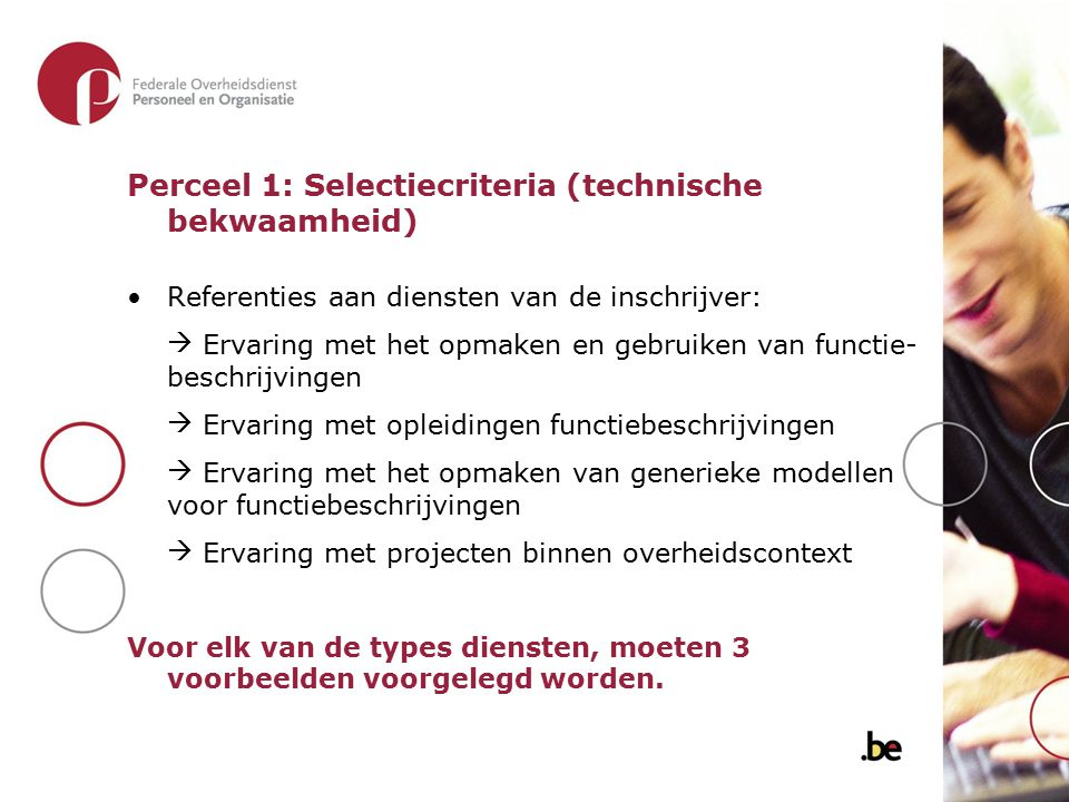 Perceel 1: Selectiecriteria (technische bekwaamheid)