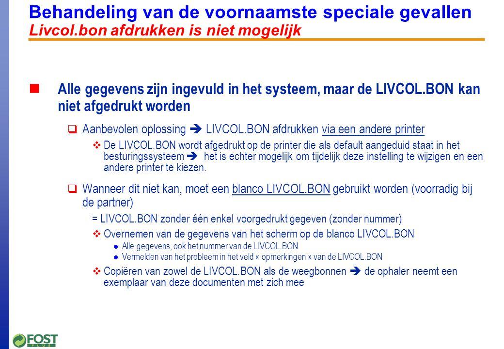 Afdruk nieuwe versie Livcol.bon Doorge-voerde correctie