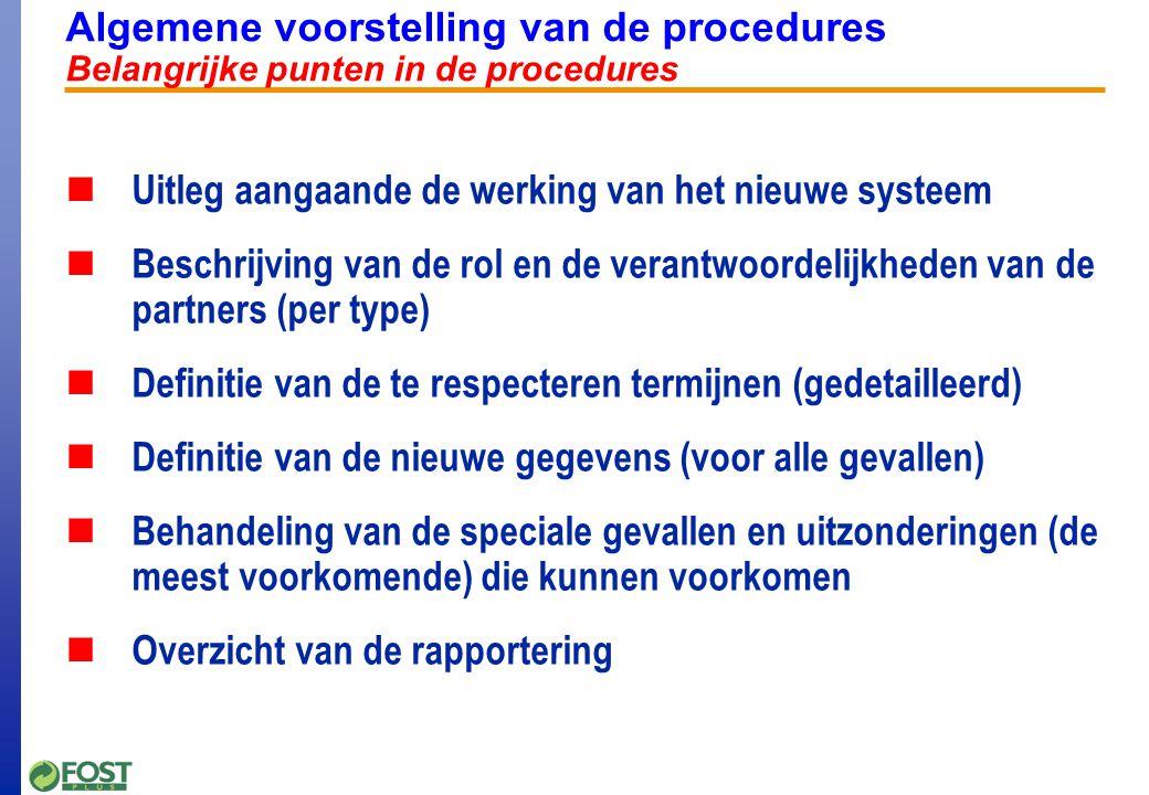 Algemene voorstelling van de procedures Voorstelling van de verschillende procedures