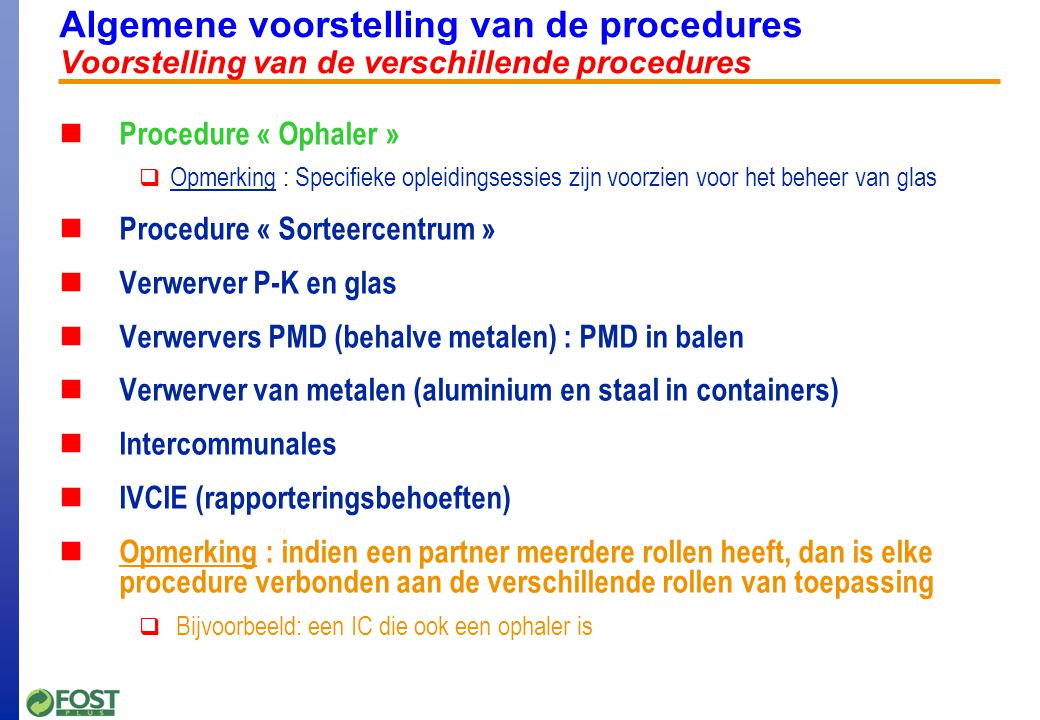 Procedure ophaler Inventaris van de materiaalstromen
