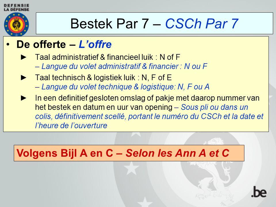 Bestek Par 7 – CSCh Par 7 De offerte – L'offre