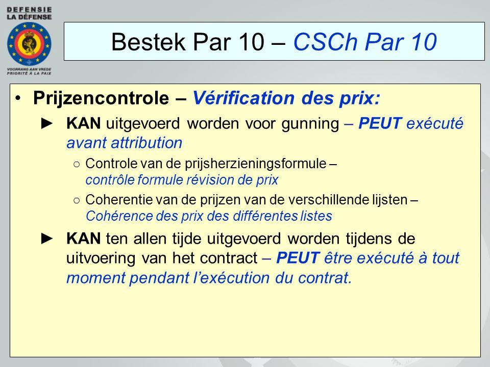 Bestek Par 10 – CSCh Par 10 Prijzencontrole – Vérification des prix: