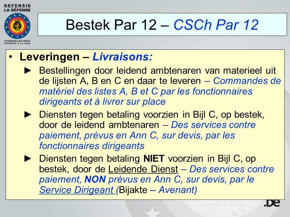 Bestek Par 12 – CSCh Par 12 Leveringen – Livraisons: