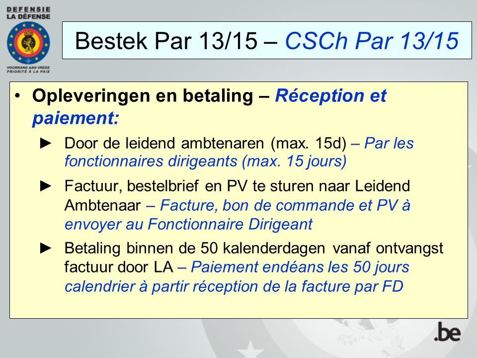 Bestek Par 13/15 – CSCh Par 13/15 Opleveringen en betaling – Réception et paiement:
