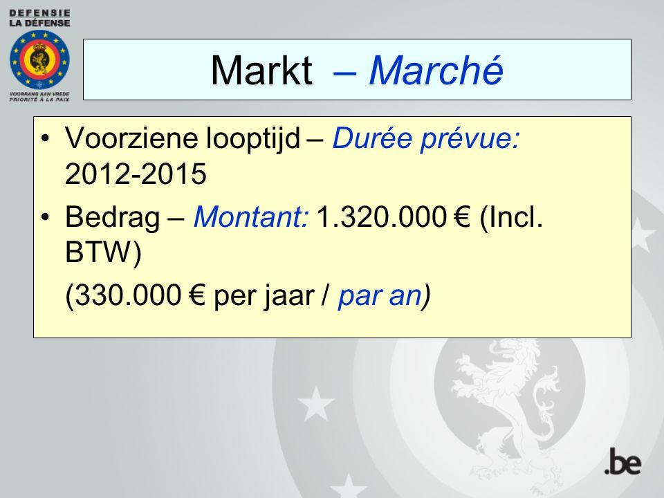 Markt – Marché Voorziene looptijd – Durée prévue: 2012-2015