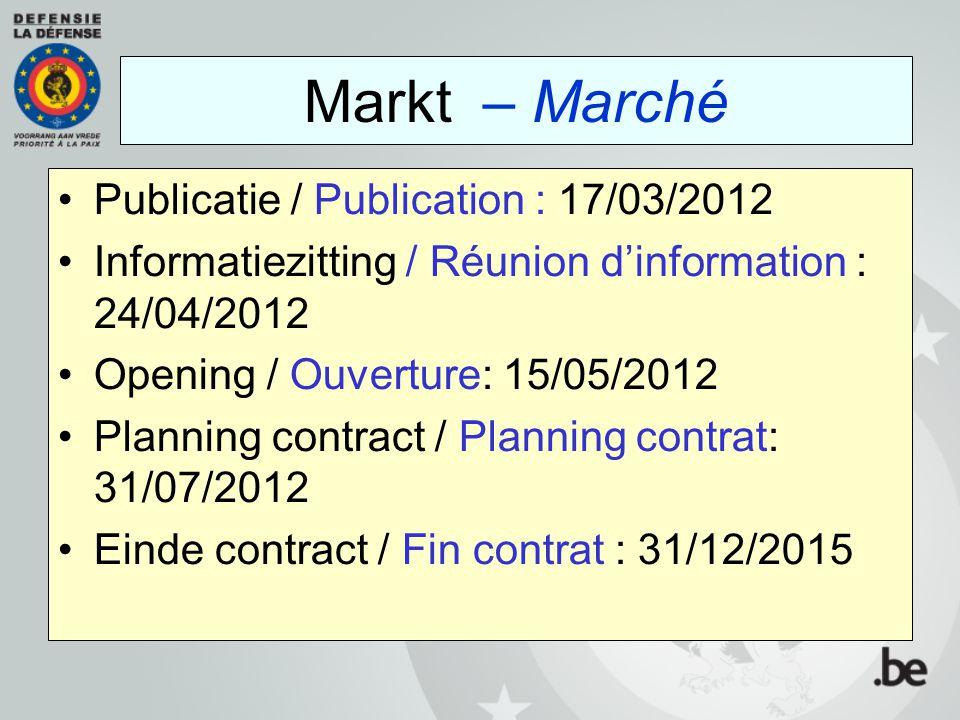 Markt – Marché Publicatie / Publication : 17/03/2012
