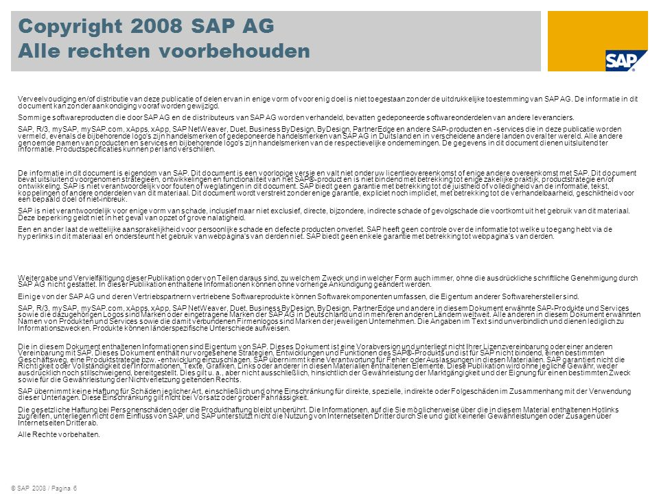 Copyright 2008 SAP AG Alle rechten voorbehouden