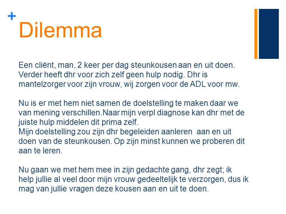 Dilemma Een cliënt, man, 2 keer per dag steunkousen aan en uit doen.