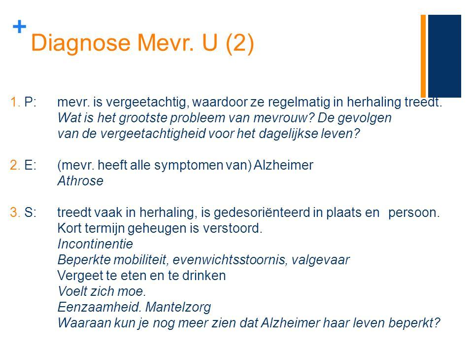 Diagnose Mevr. U (2) P: mevr. is vergeetachtig, waardoor ze regelmatig in herhaling treedt.