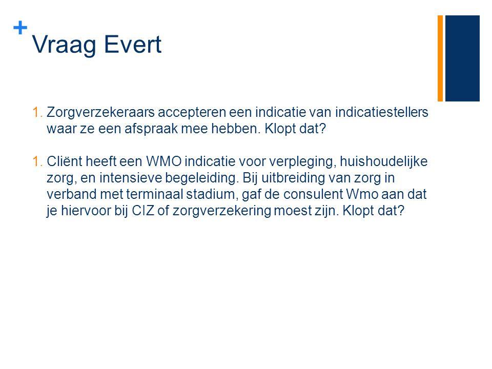 Vraag Evert Zorgverzekeraars accepteren een indicatie van indicatiestellers waar ze een afspraak mee hebben. Klopt dat