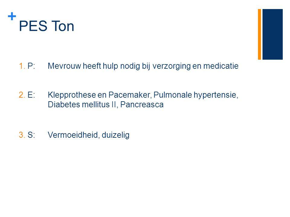 PES Ton P: Mevrouw heeft hulp nodig bij verzorging en medicatie