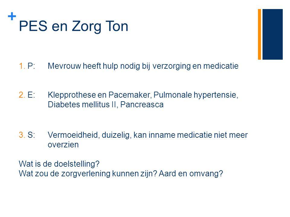 PES en Zorg Ton P: Mevrouw heeft hulp nodig bij verzorging en medicatie.