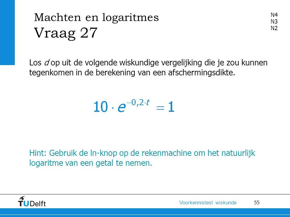 Machten en logaritmes Vraag 27