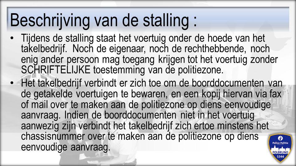 Beschrijving van de stalling :