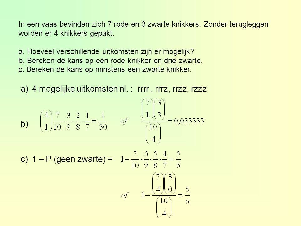 4 mogelijke uitkomsten nl. : rrrr , rrrz, rrzz, rzzz