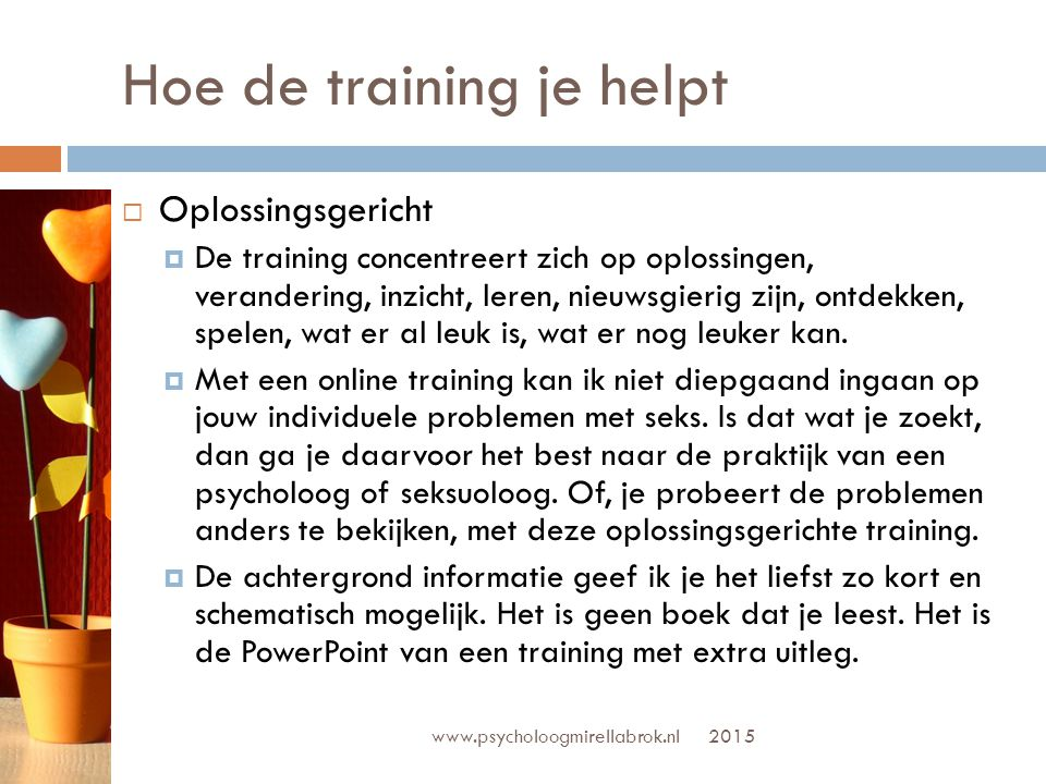 Hoe de training je helpt