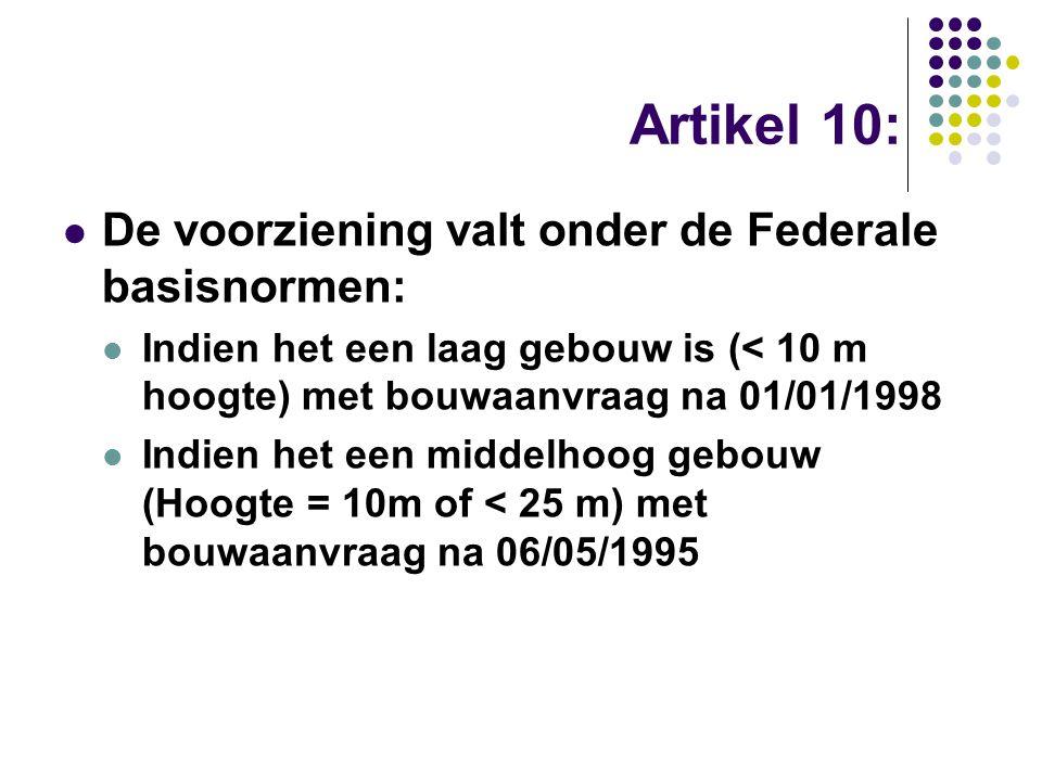 Artikel 10: De voorziening valt onder de Federale basisnormen: