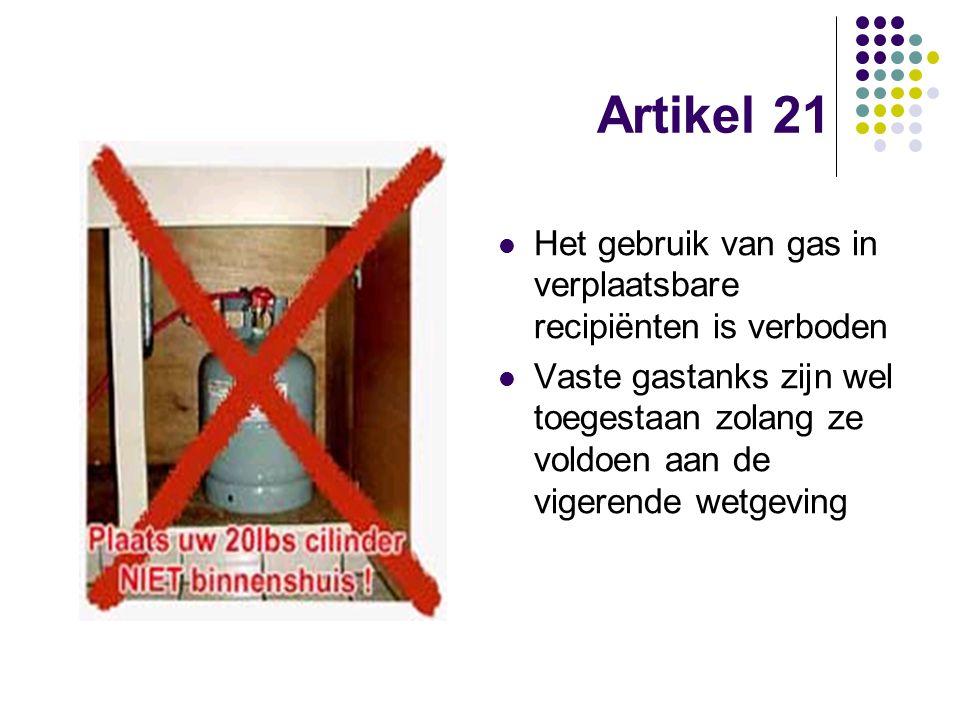 Artikel 21 Het gebruik van gas in verplaatsbare recipiënten is verboden.