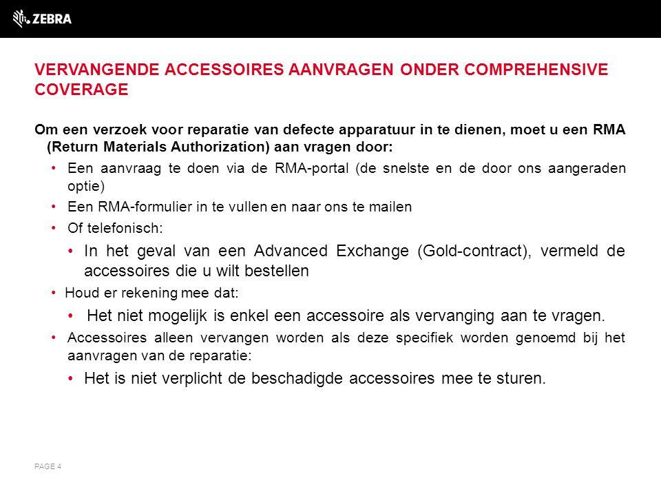 Vervangende accessoires aanvragen onder Comprehensive Coverage