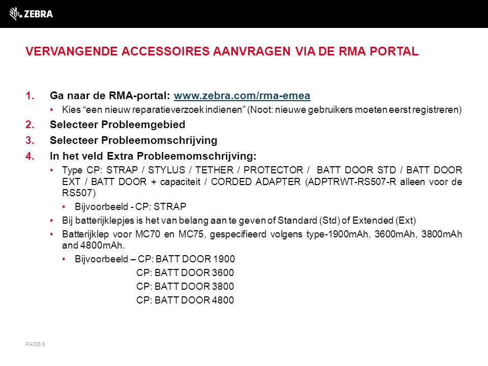 Vervangende accessoires aanvragen via de RMA Portal