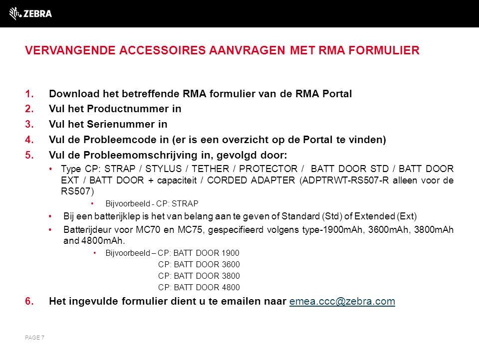 Vervangende accessoires aanvragen met RMA Formulier