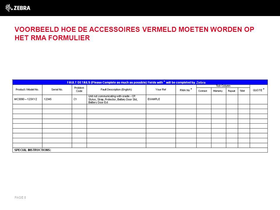 Voorbeeld hoe de accessoires vermeld moeten worden op het RMA formulier