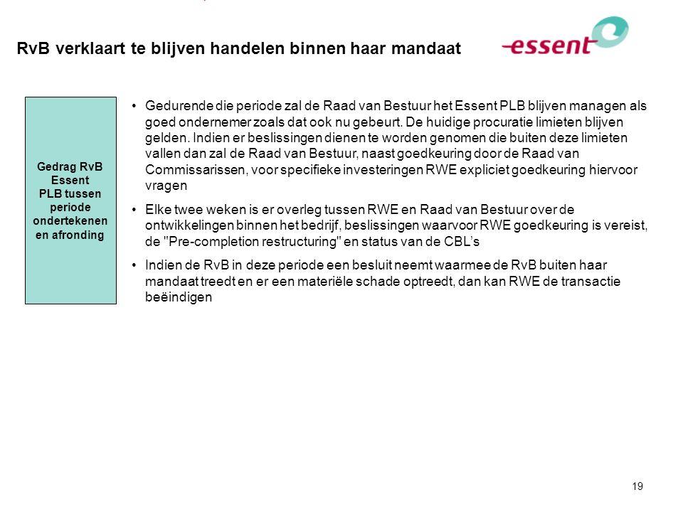 De onderhandelde governance van Essent is voor de komende 5 jaar vastgelegd in lijn met het mandaat en wensen stakeholders