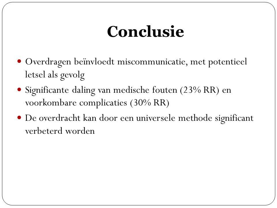 Conclusie Overdragen beïnvloedt miscommunicatie, met potentieel letsel als gevolg.