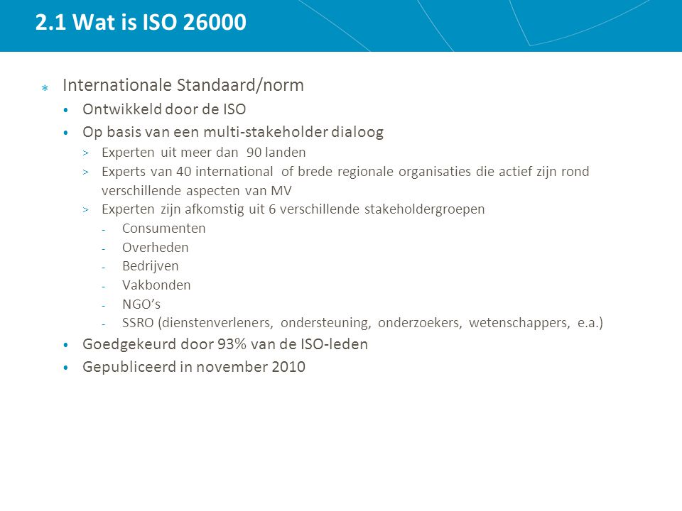 2.1 Wat is ISO 26000 Internationale Standaard/norm