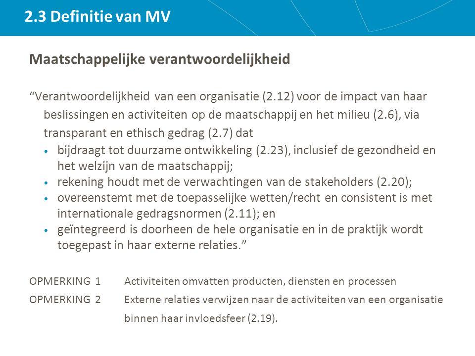 2.3 Definitie van MV Maatschappelijke verantwoordelijkheid