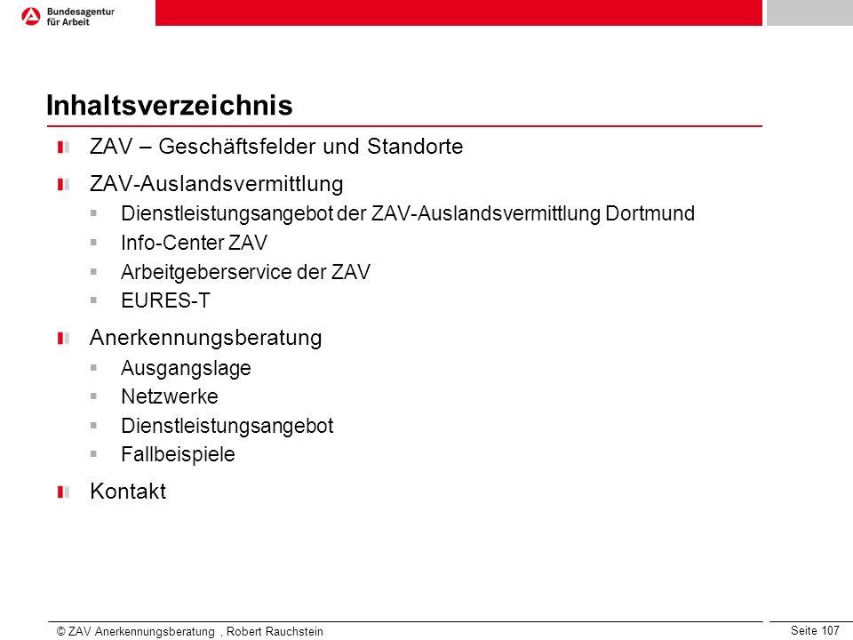 Inhaltsverzeichnis ZAV – Geschäftsfelder und Standorte