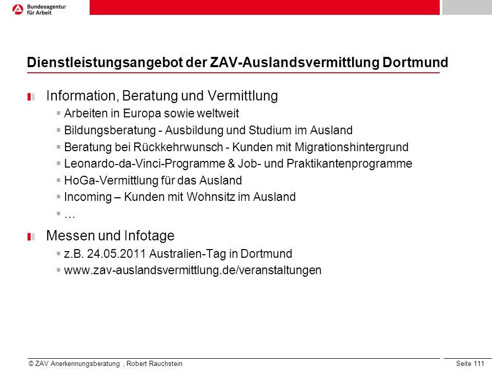 Dienstleistungsangebot der ZAV-Auslandsvermittlung Dortmund