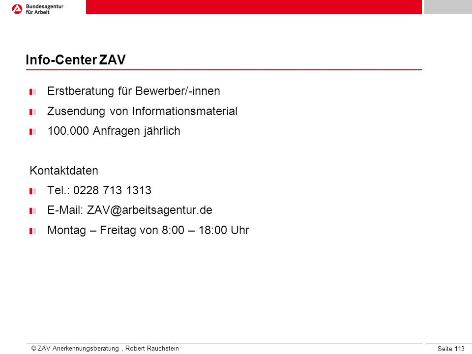 Info-Center ZAV Erstberatung für Bewerber/-innen