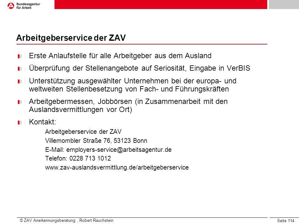 Arbeitgeberservice der ZAV