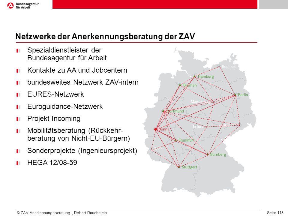 Netzwerke der Anerkennungsberatung der ZAV