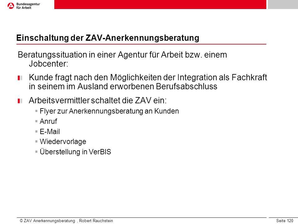 Einschaltung der ZAV-Anerkennungsberatung