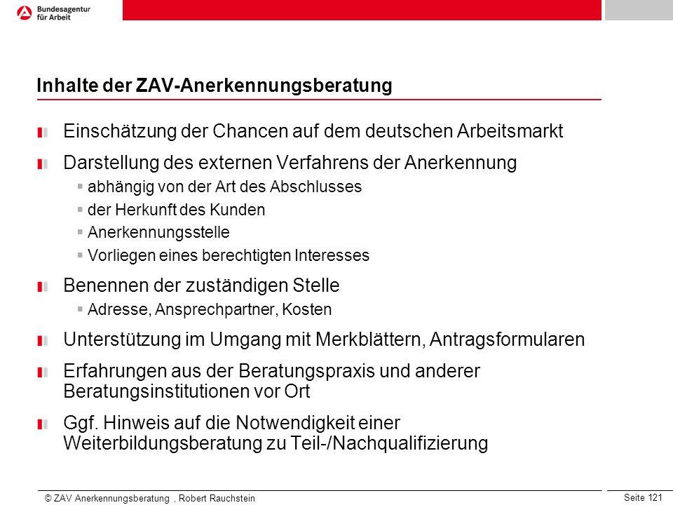 Inhalte der ZAV-Anerkennungsberatung