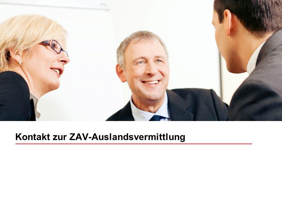 Kontakt zur ZAV-Auslandsvermittlung