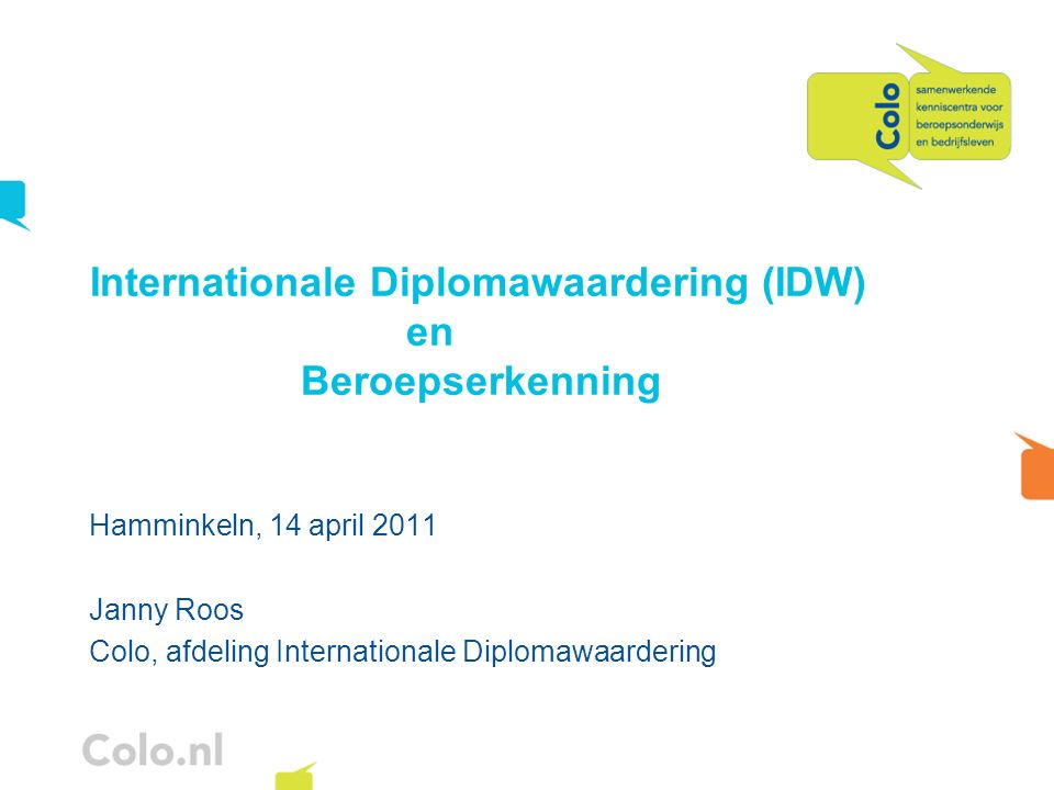 Internationale Diplomawaardering (IDW) en Beroepserkenning