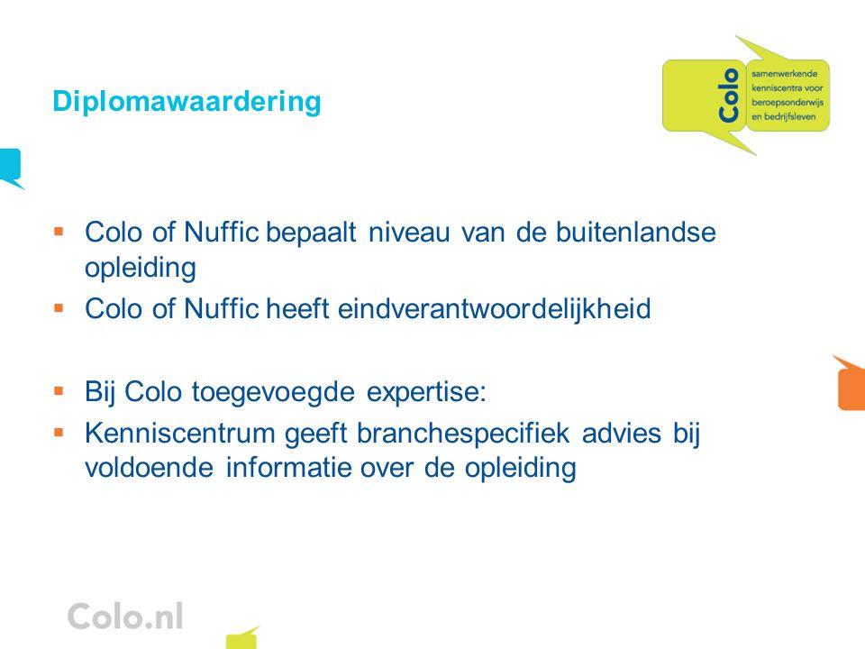 Diplomawaardering Colo of Nuffic bepaalt niveau van de buitenlandse opleiding. Colo of Nuffic heeft eindverantwoordelijkheid.
