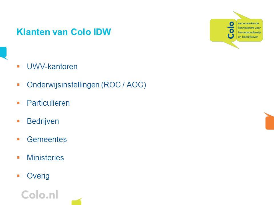 Klanten van Colo IDW UWV-kantoren Onderwijsinstellingen (ROC / AOC)