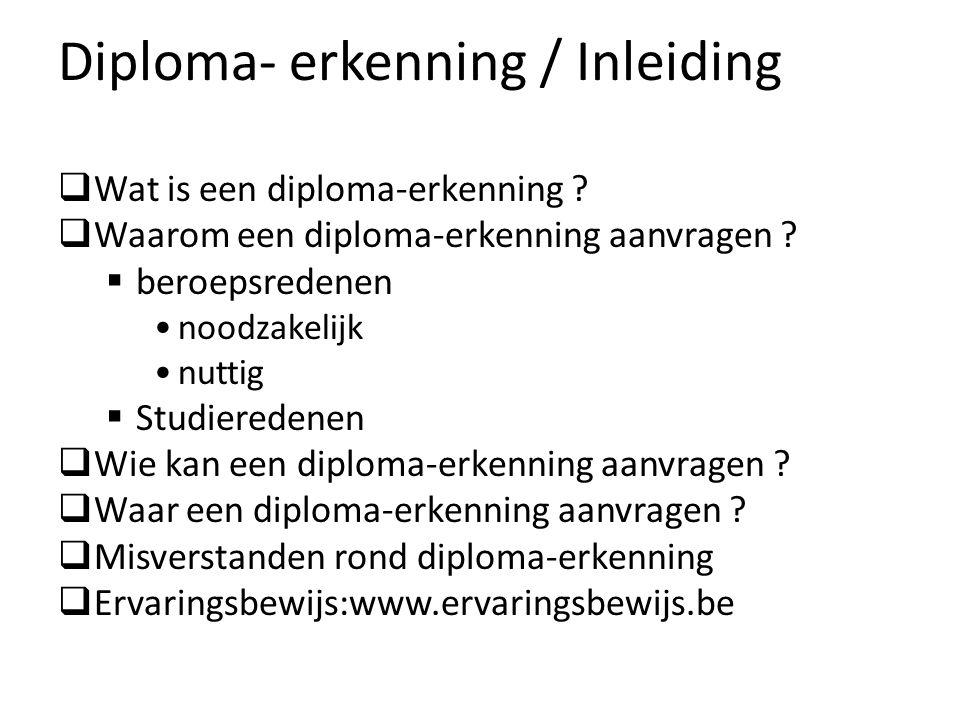 Diploma- erkenning / Inleiding