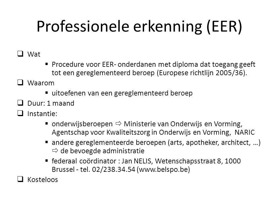 Professionele erkenning (EER)