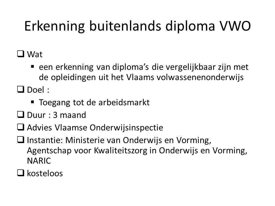 Erkenning buitenlands diploma VWO