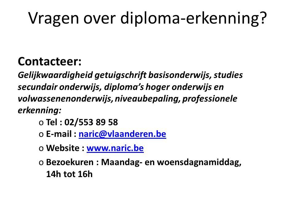 Vragen over diploma-erkenning