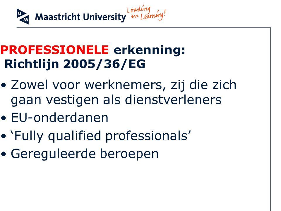 PROFESSIONELE erkenning: Richtlijn 2005/36/EG